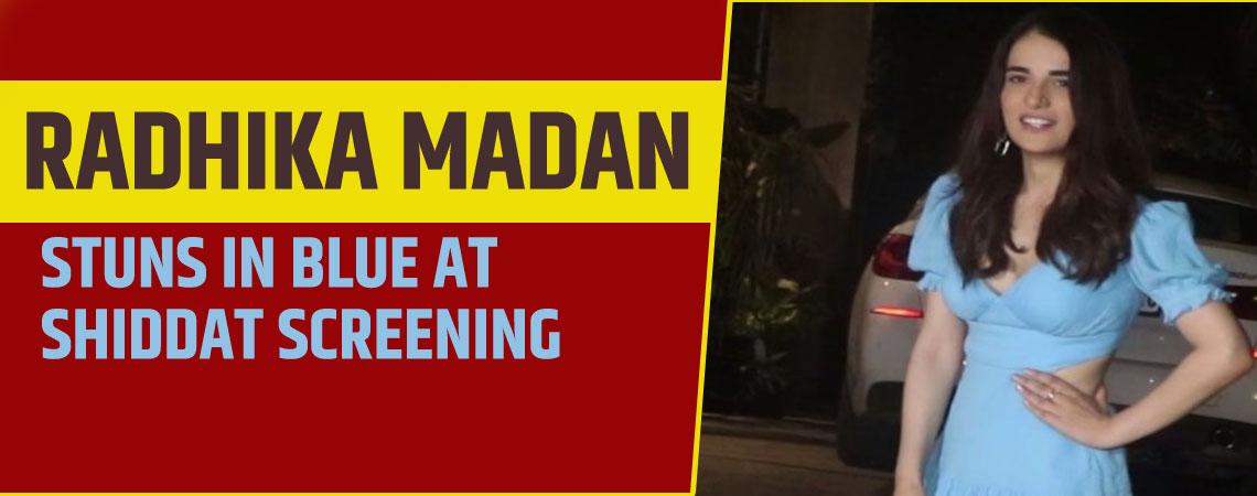 Radhika Madan stuns in blue at Shiddat screening